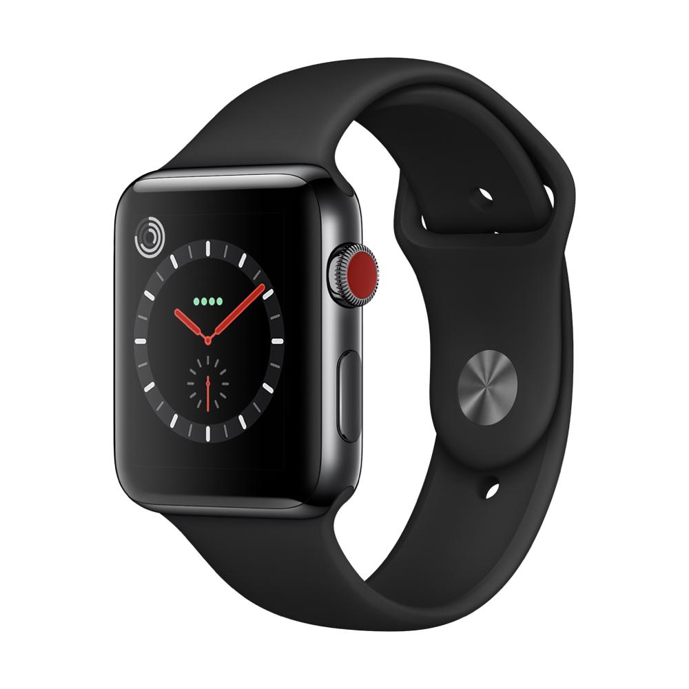 Apple Watch Series3 GPS+Cell 42mm 스페이스 블랙 스테인리스 스틸 케이스와 블랙 스포츠 밴드 MQM02KH/A
