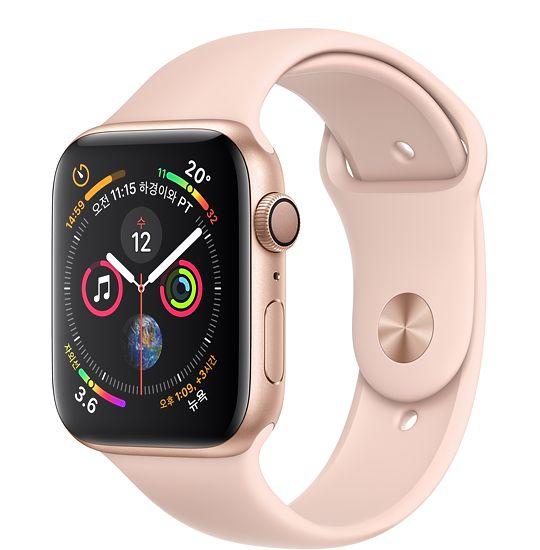 Apple Watch Series4 GPS 44mm 골드 알루미늄 케이스와 핑크 샌드 스포츠 밴드MU6F2KH/A