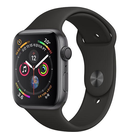 Apple Watch Series4 GPS 44mm 스페이스 그레이 알루미늄 케이스와 블랙 스포츠 밴드 MU6D2KH/A