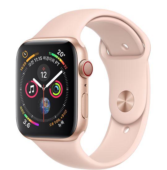 Apple Watch Series4 GPS+Cell 44mm 골드 알루미늄 케이스와 핑크 샌드 스포츠 밴드 MTVW2KH/A