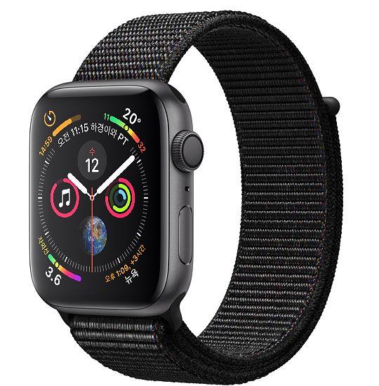 Apple Watch Series4 GPS 44mm 스페이스 그레이 알루미늄 케이스와 블랙 스포츠 루프 MU6E2KH/A