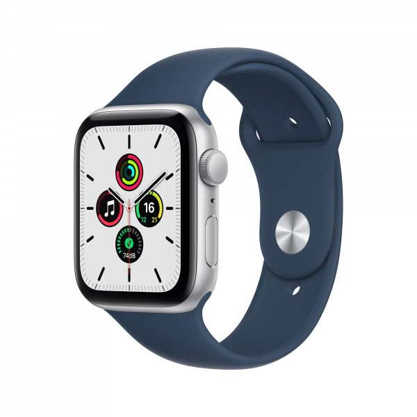 Apple Watch Series SE GPS 44mm 실버 알루미늄 케이스와 어비스 블루 스포츠밴드 MKQ43KH/A