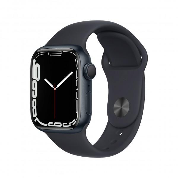 Apple Watch Series 7 GPS 41mm 미드나이트 알루미늄 케이스와 미드나이트 스포츠 밴드 MKMX3KH/A