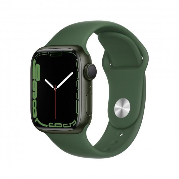 Apple Watch Series 7 GPS 41mm 그린 알루미늄 케이스와 클로버 스포츠 밴드 MKN03KH/A
